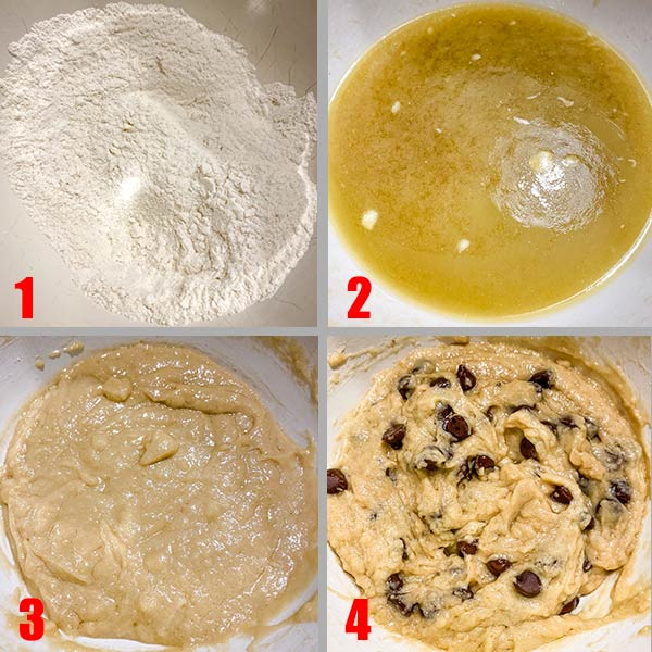 easy chocolate chip cookies batter process shots