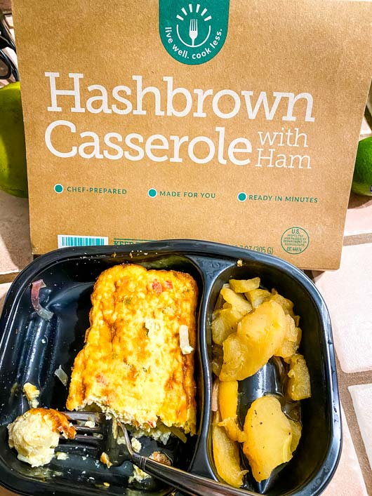 a diabetic meal from BistroMD of hashbrown casserole and cooked apples