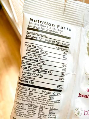 nutrition label on a bistromd diabetic snack