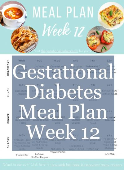 "picture of the pdf format meal plan with text overlay ""gestational diabetes meal plan week 12"""