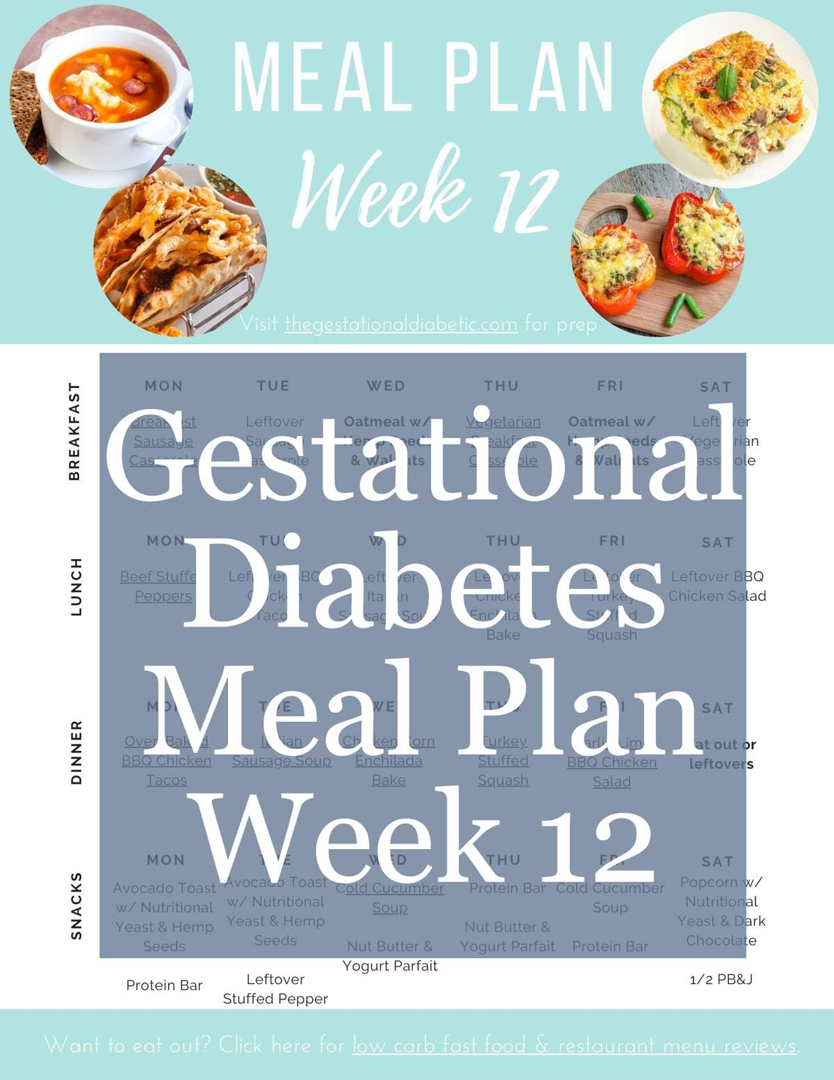 """picture of the pdf format meal plan with text overlay """"gestational diabetes meal plan week 12"""""""