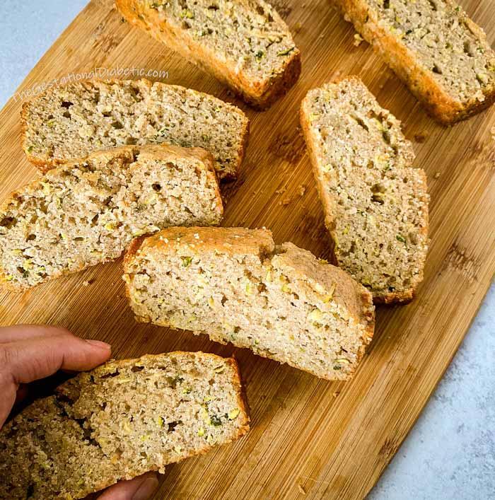 flat lay of sliced zucchini bread on cutting board