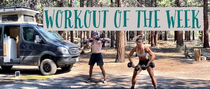 Workout of the Week - Hot Hammies website by Joe Bauer and Emily Kramer workout out at the campsite
