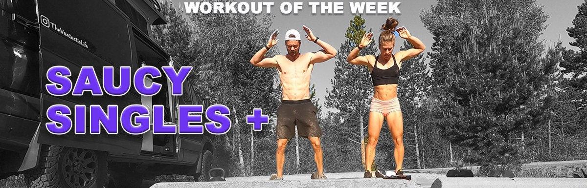 Joe and Emily doing burpees during Saucy Singles + workout at campsite