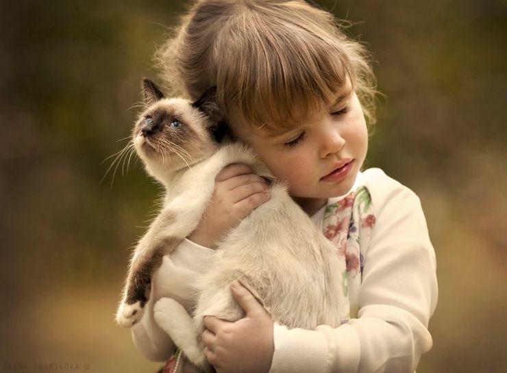 şapşik kedi ve şirin kız