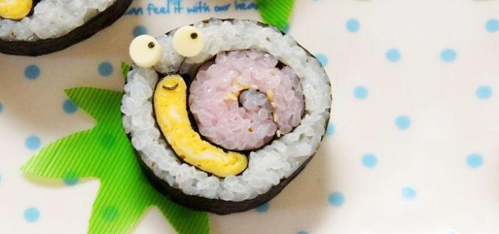 salyangoz şeklinde sushi