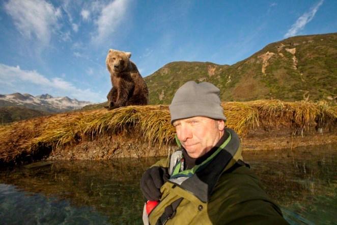 Photographer and Brown Bear, Katmai National Park, Alaska