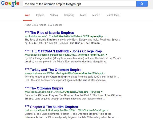 google dosya türü arama