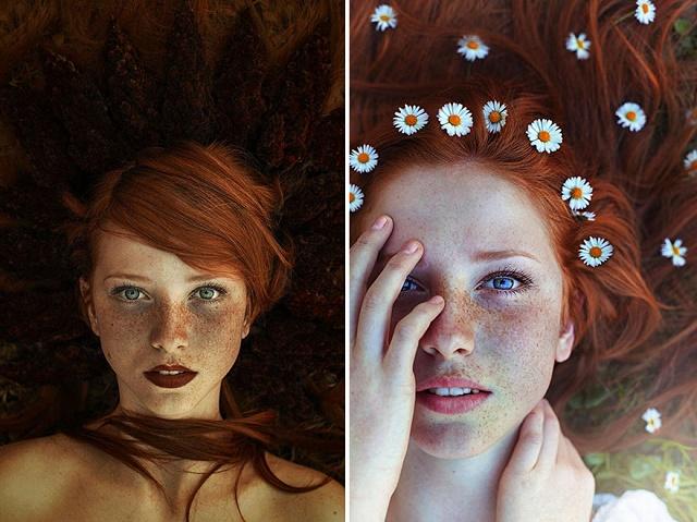 Kızıl Saçlı Kızın doğa ile uyumu 3