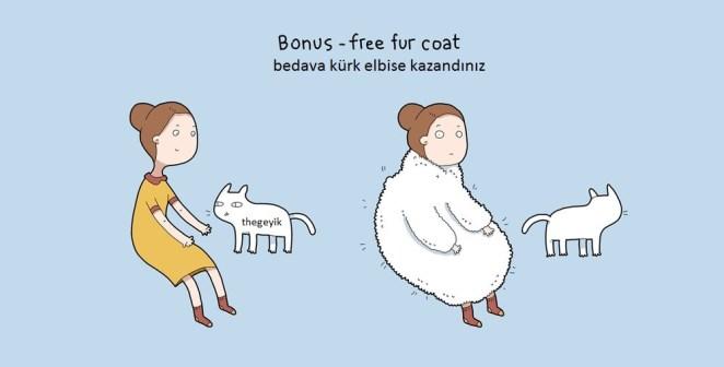 kedi kürkü sıcak tutar