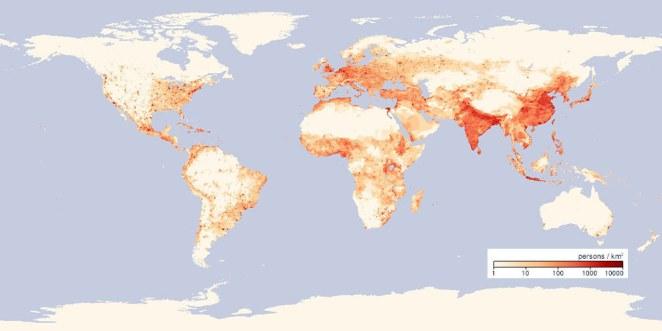 Dünyadaki nüfus yoğunluğu