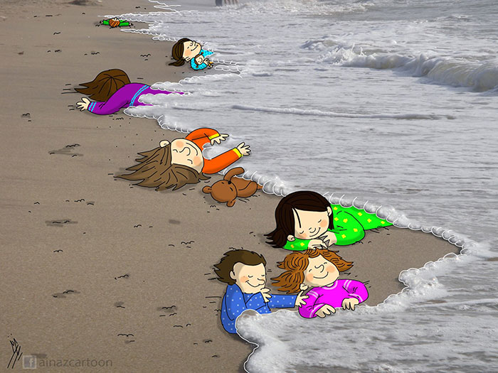 Denizde boğulan suriyeli göçmen çocuk aylan kurdi çizimleri 11