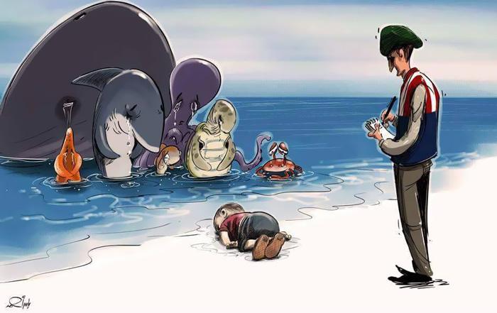 Denizde boğulan suriyeli göçmen çocuk aylan kurdi çizimleri 6