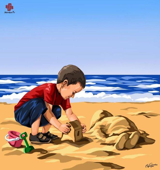 Denizde boğulan suriyeli göçmen çocuk aylan kurdi çizimleri 8