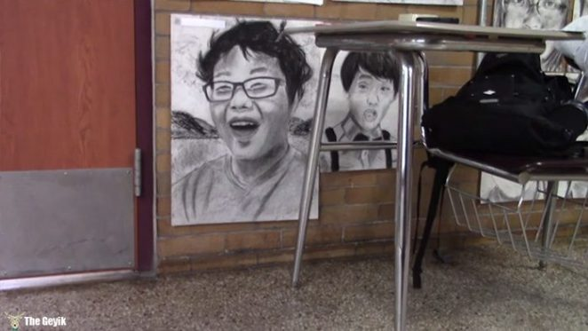 okul arkaslarinin resimlerini gizlice cizen Phillip Sossou6