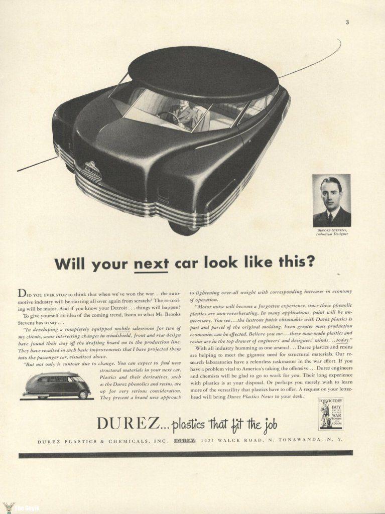 II. Dünya Savaşı sırasında Brooke Stevens'ın verdiği bir basılı ilan – Yeni arabanız buna benzeyecek mi?
