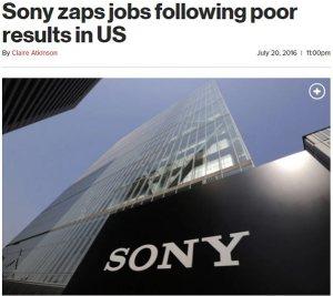sony zaps jobs following poor result in us