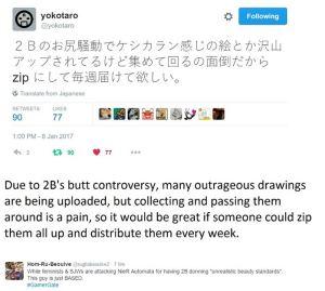 nier automata 2b butt controversy mr yoko taro