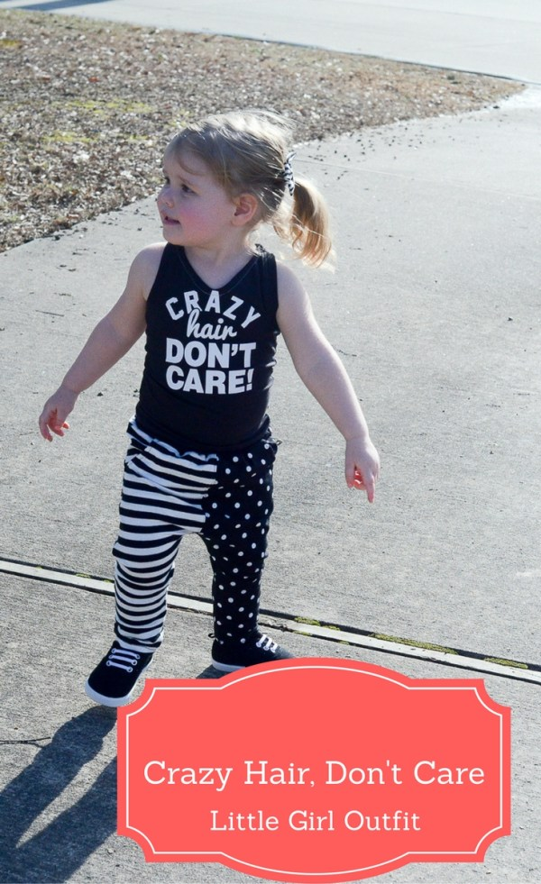 Crazy Hair Don't Care Little Girl Outfit - Little Girl Style - Toddler Style - Little Girl Fashion - Little Girl Outfit - Graphic T-Shirt - Kid Style - Kid Fashion - The Gifted Gabber