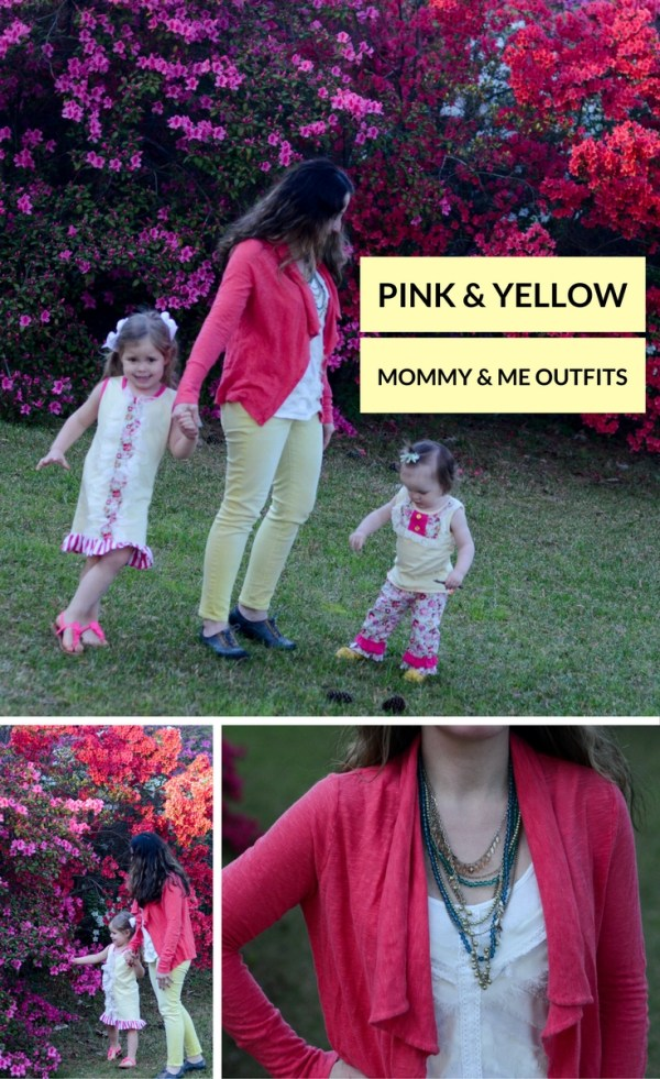 Gabbing about these pink and yellow outfits . - Coordinating Outfits - Mommy and Me Outfits - Mommy Style - Kid Style - Little Girl Fashion - Little Girl Style - Sister Style - Pink and Yellow Ideas - The Gifted Gabber