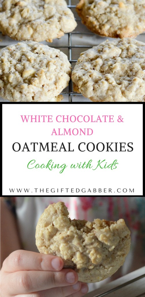 White Chocolate Chip and Almond Oatmeal Cookies are the best oatmeal cookies ever! Try this oatmeal cookie recipe! The Gifted Gabber