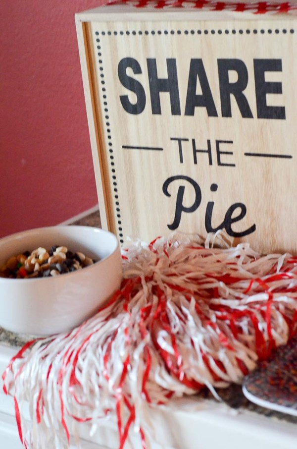 Share the pie board with pom pom and bowl of trail mix - The Gifted Gabber