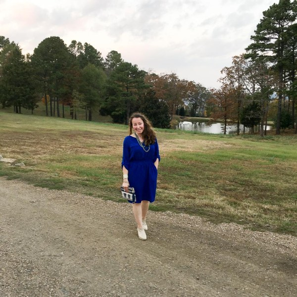 Blue Dress on Moss Mountain Farm - The Gifted Gabber #womensfasihion #ExploreArkansas #womenstyle #weddingattire