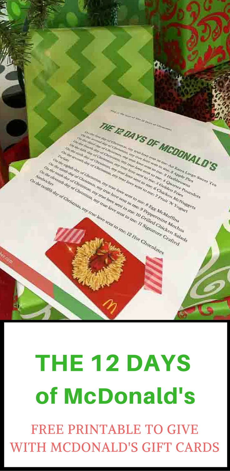 The 12 Days of McDonald\'s Printable for Gift Cards