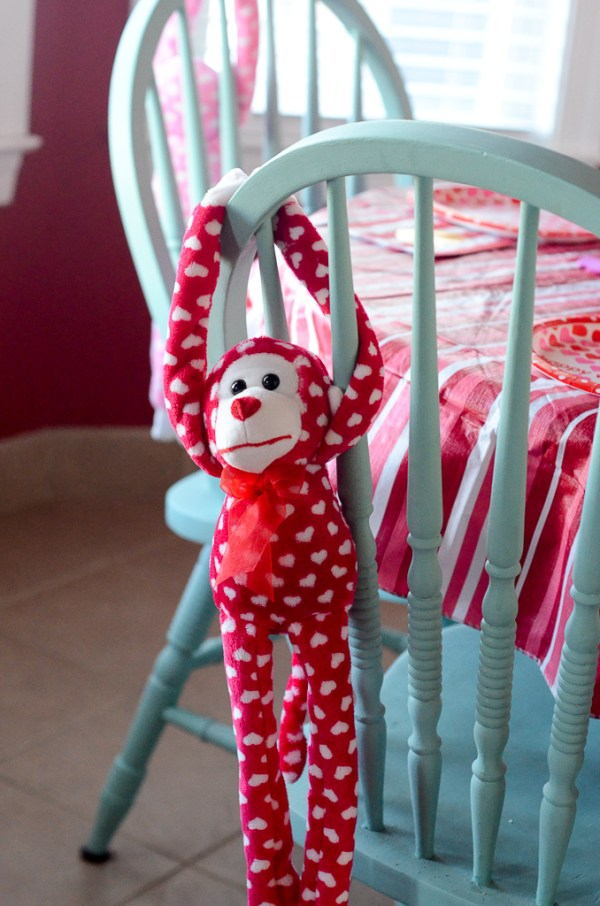 Hanging monkey at a Galentine's party for little girls - The Gifted Gabber