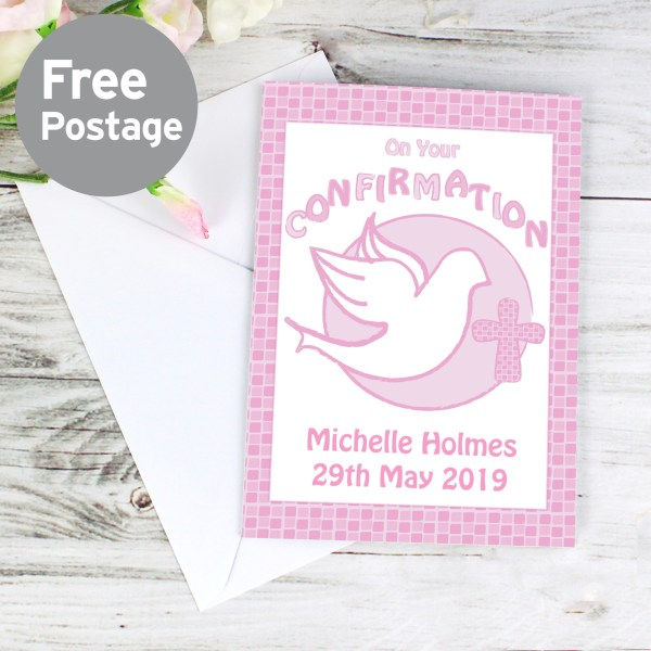 Personalised Confirmation Card-Pink