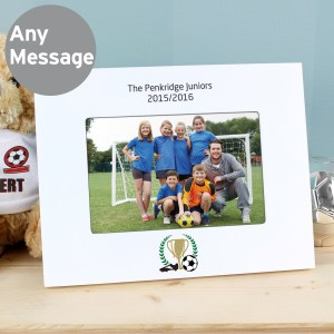 Personalised Football 6x4 Landscape White Wooden Photo Frame