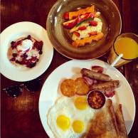 All american breakfast - Choice of 2 eggs, chicken/ pork sausages, hash browns, baked beans, toast, fruit platter and pancakes/ waffles with choice of beverage @ Hard Rock Cafe