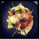 Mahi Mahi Fish fillet with sauteed vegetables and lemon ginger butter sauce - Fish of the day @ Cafe Noir, UB City