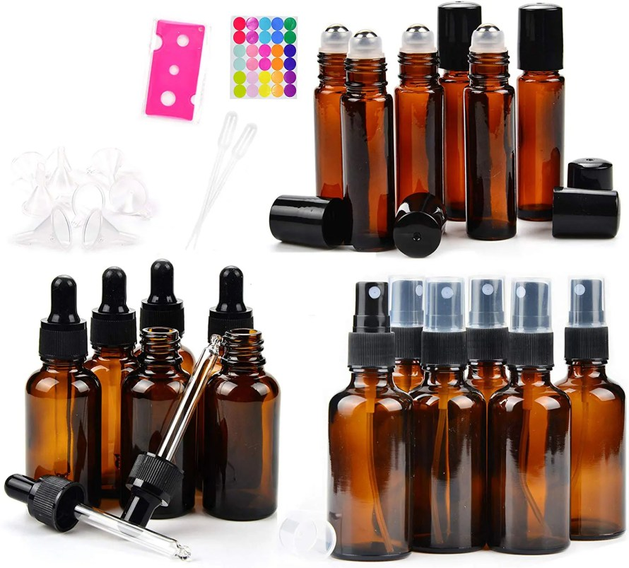 amber glass bottles and rollers