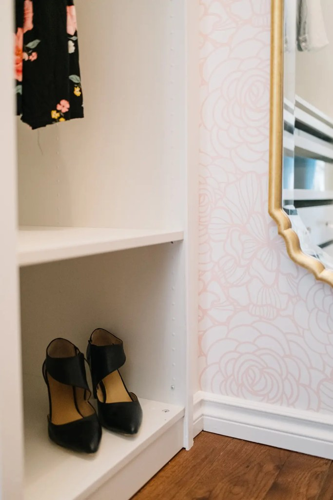 Shelves for shoes in a custom closet