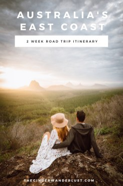 Planning on doing a roadtrip up or down Australia's East Coast? Check out my 2 week road trip itinerary taking you from Byron Bay to Fraser Island via the Gold Coast, Brisbane and the Sunshine Coast. Top Tips on where to stop on the way like the amazing Glass House mountains!
