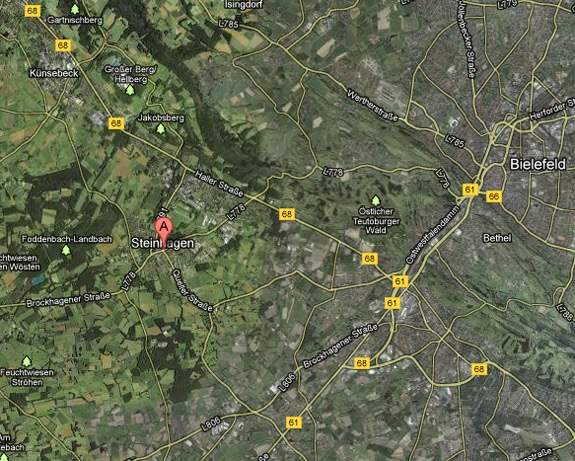 Location of Steinhagen in Germany, via Google Maps
