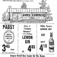 Lemon Gin ad, Ironwood, Michigan 1975