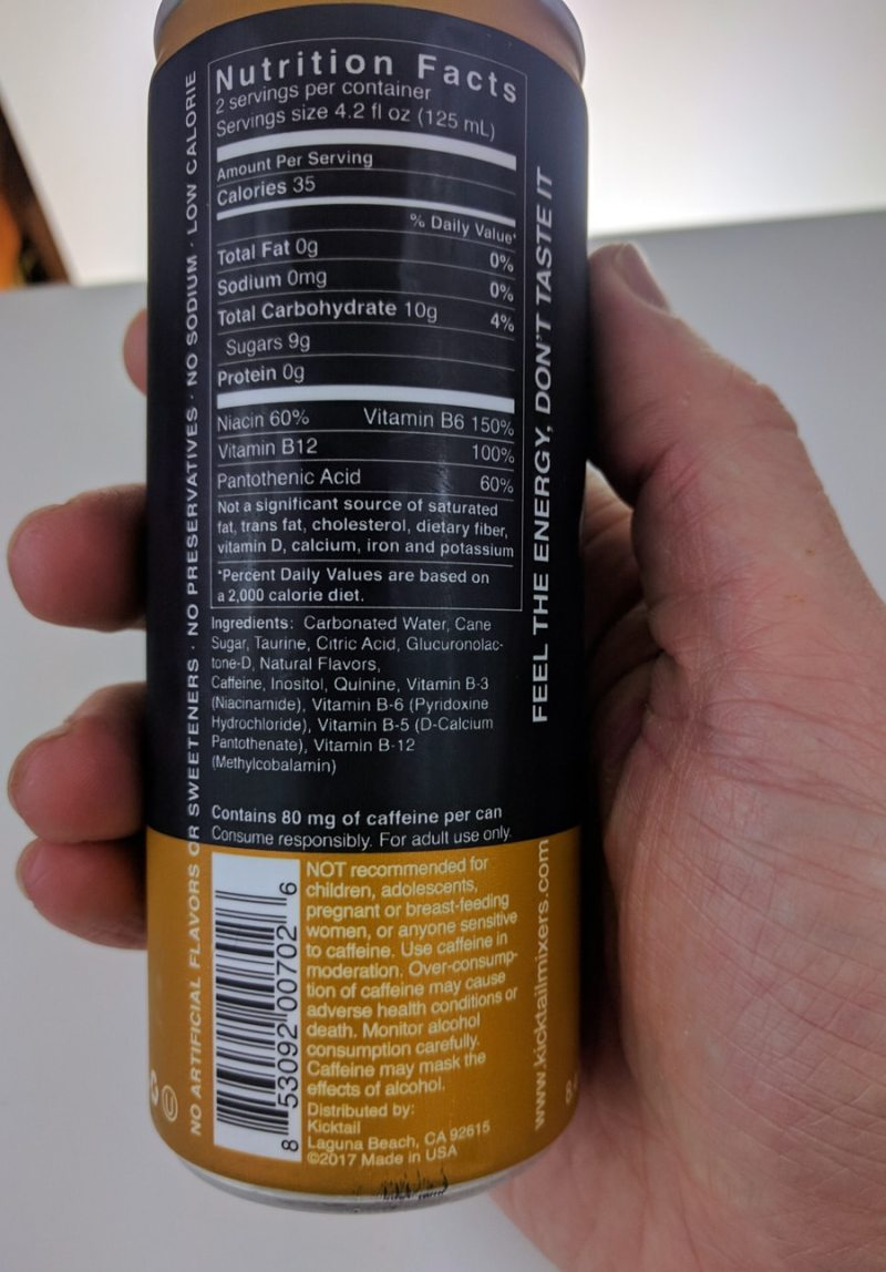 The back of a bottle of Kicktail Tonic Water