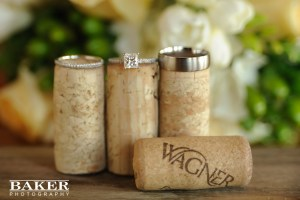 Wedding rings on corks - Photo credit Baker Photography