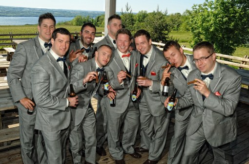 Groomsmen on the brew deck at Wagner Vineyards – Photo credit Baker Photography