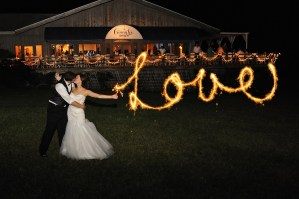 """Love"" sparklers at the Ginny Lee Cafe at night - Photo credit Baker Photography"