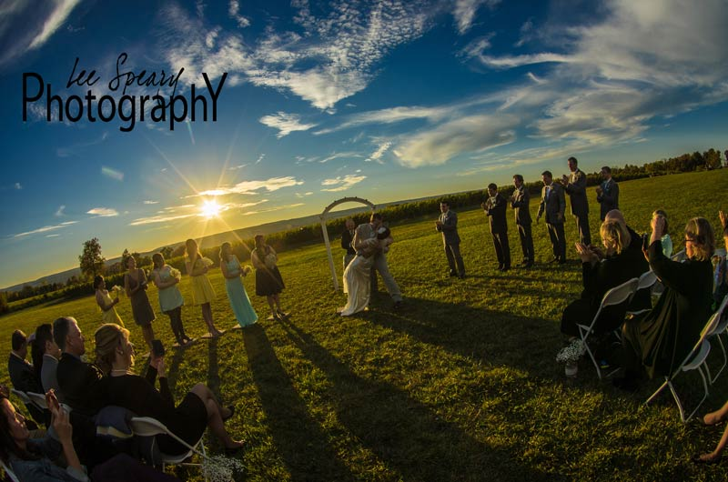 Bridal Party in front of sunset