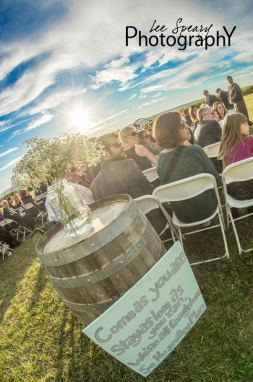 Wedding ceremony wine barrel – Photo credit Lee Speary Photography