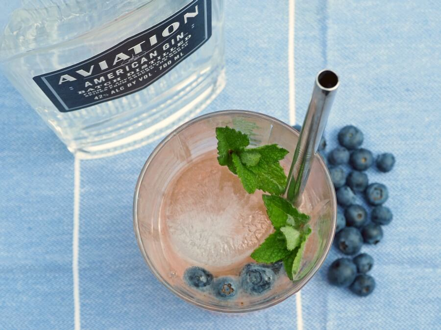 Blueberry Buck and Aviation gin