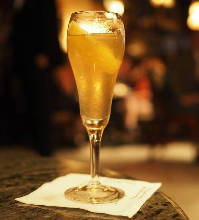 A French 75 at the French 75 (made the house way, with cognac!)