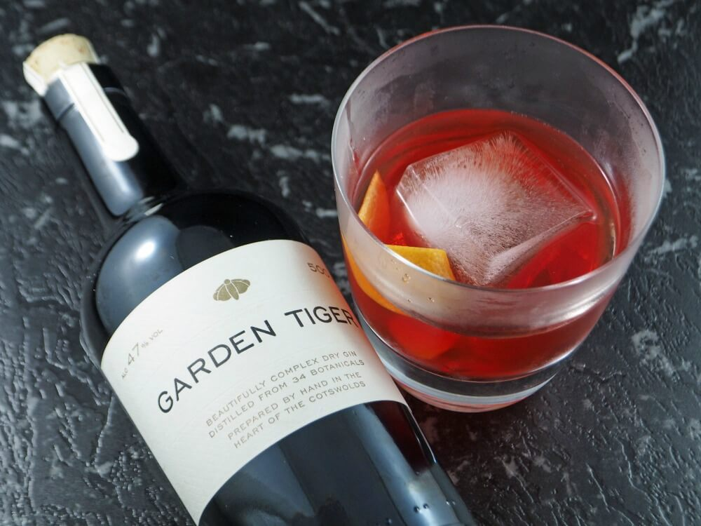 garden tiger gin bottle and negroni