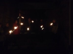 Lighting the night with sparklers on Guy Fawkes Night