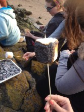 Toasting marshmallows on Cramond Island