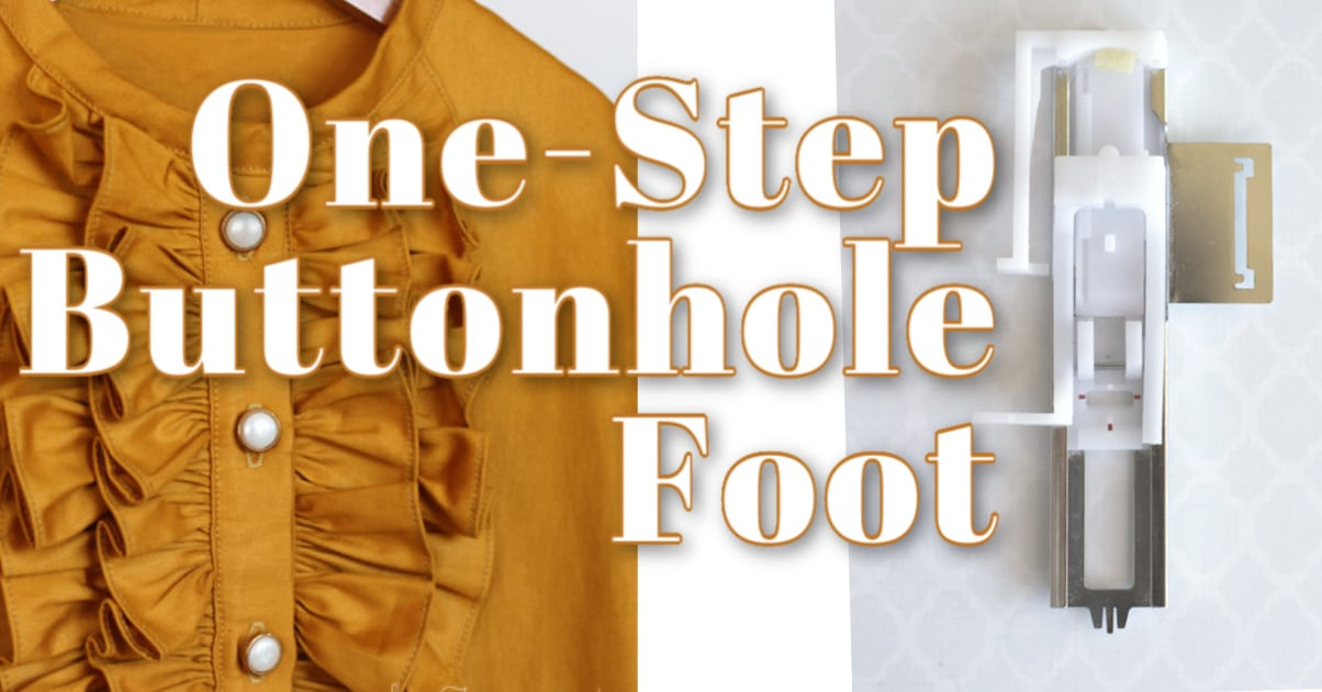 mustard yellow button-up blouse and buttonhole presser foot with text overlay